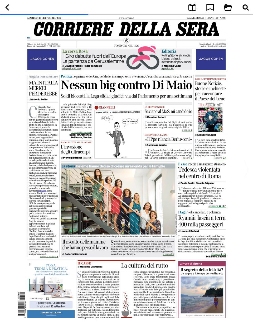 press Family Welcome Corriere della Sera