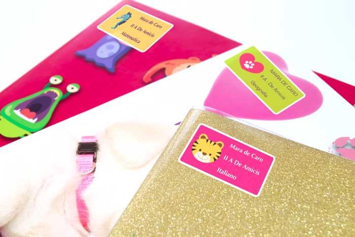 etichette personalizzabili per scuola quaderni
