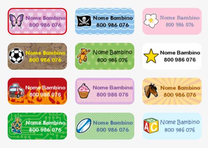 etichette per bambini