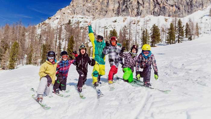 telemark per bambini a Cortina d'Ampezzo