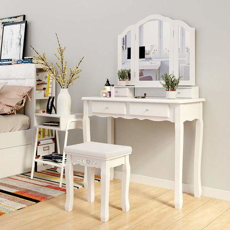 tavolo-da-toeletta-specchiera-per-trucco-com-per-cosmetici-con-sgabello-e-specchio-bianco